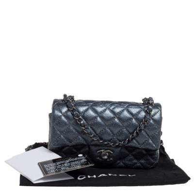 Chanel Metallic Dark Blue Quilted Leather New Mini Classic Single Flap Bag 333773 - 9