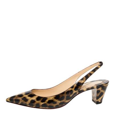 Christian Louboutin Beige Leopard Print Patent Leather Slingback Pumps Size 38 334381 - 1