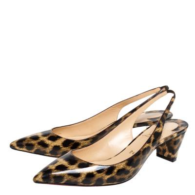 Christian Louboutin Beige Leopard Print Patent Leather Slingback Pumps Size 38 334381 - 3