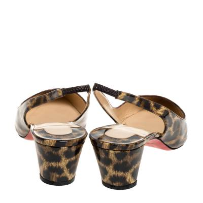 Christian Louboutin Beige Leopard Print Patent Leather Slingback Pumps Size 38 334381 - 4