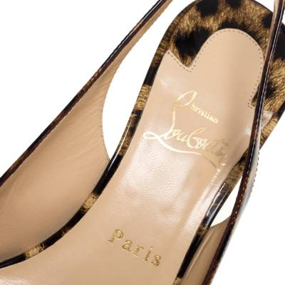 Christian Louboutin Beige Leopard Print Patent Leather Slingback Pumps Size 38 334381 - 6