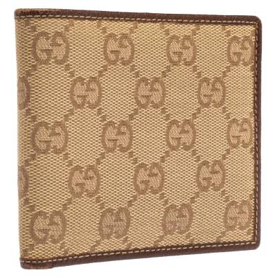 Gucci Beige/Brown GG Canvas and Leather Bi-fold Wallet 337487 - 3
