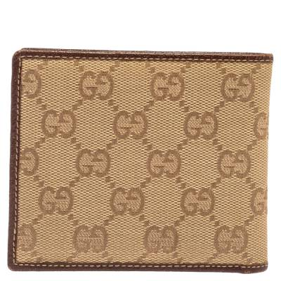Gucci Beige/Brown GG Canvas and Leather Bi-fold Wallet 337487 - 4