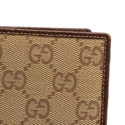 Gucci Beige/Brown GG Canvas and Leather Bi-fold Wallet 337487 - 5