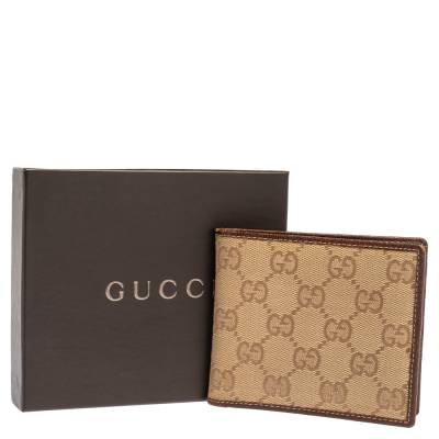 Gucci Beige/Brown GG Canvas and Leather Bi-fold Wallet 337487 - 9
