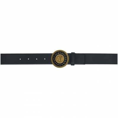 Versace Jeans Couture Black and Gold Round Buckle Belt ED8YZBF14E71627 - 1