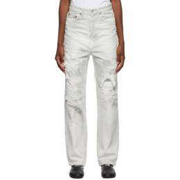 Balenciaga White and Grey Ripped Patch Jeans 643020-TDW04