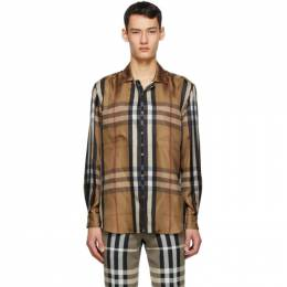 Burberry Brown Silk Twill Reconstructed Shirt 4565076
