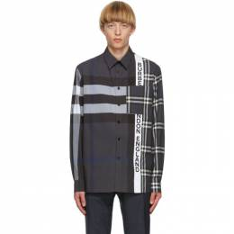 Burberry Grey Patchwork Talby Shirt 8033933