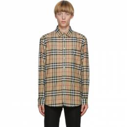 Burberry Beige Flannel Vintage Check Shirt 8033703
