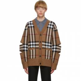 Burberry Brown Cashmere Check Cut-Out Cardigan 8036087