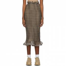 Burberry Brown Plisse Check Ruffle Detail Skirt 4566762