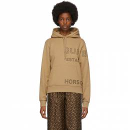 Burberry Beige Oversized Horseferry Hoodie 8036177