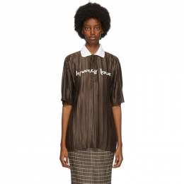 Burberry Brown Oversized Plisse Polo 4566938