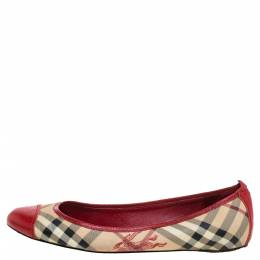 Burberry Beige/Red Coated Canvas And Leather Round Cap Toe Ballet Flats Size 39 338305