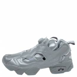 Vetements x Reebok Reflective Grey PVC Instapump Fury Low Top Sneakers Size 38.5 339042