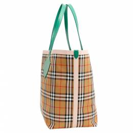 Burberry Green/Pink Check Canvas The Giant Reversible Tote Bag 337893
