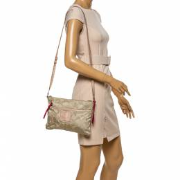 Coach Beige/Pink Nylon and Leather Crossbody Bag 339036