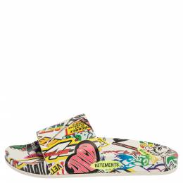 Vetements White/Multicolor Leather Sticker Slippers Size 39 338783