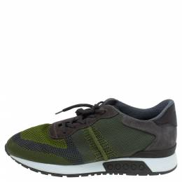 Tod's Green Mesh/Suede and Leather Low Top Sneakers Size 41 339379