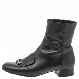 Gucci Black Leather Horsebit Ankle Boots Size 38.5 338779