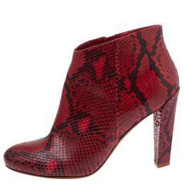 Celine Red Python Block Heels Ankle Boots Size 38 339372