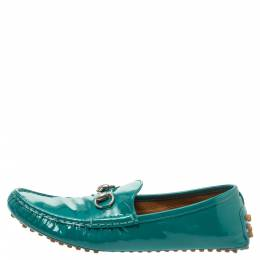 Gucci Green Patent Leather Horsebit Loafers Size 39.5 338358