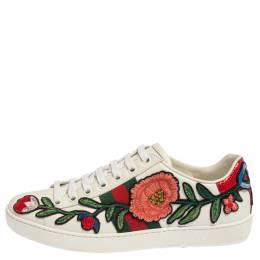 Gucci White Leather Ace Floral-Embroidered Web Low Top Sneakers Size 36 338359
