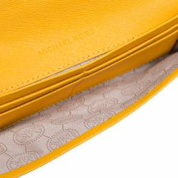 Michael Kors Mustard Saffiano Leather Jet Set Flat Wallet 338505