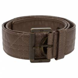 Dior Brown Textured Cannage Leather Grommet Buckle Belt 90CM 338432