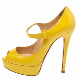 Christian Louboutin Yellow Patent Leather Vendome Mary Platform Peep Toe Pumps Size 36 339382