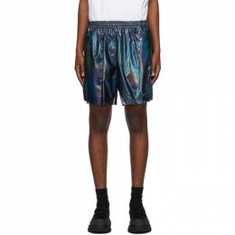 We11Done Black Holoshine Metallic Logo Shorts WD-PT7-20-106-M-MX