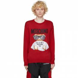 Moschino Red Cotton Micro Teddy Bear Sweater 0903 5201