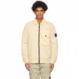 Stone Island Yellow Brushed Canvas Zip-Up Shirt 7315107WN