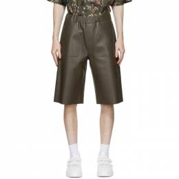 Givenchy Khaki Leather Bonded Bermuda Shorts BM50LA60TG