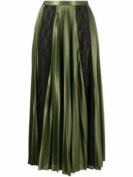 Christopher Kane lace panelled pleated skirt AW20SK1338SLINKYSATINJERSEYOLIVE