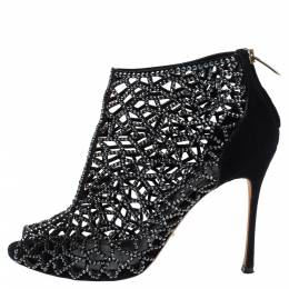 Sergio Rossi Black Crystal Embellished Suede Cutout Peep Toe Ankle Boots Size 37.5 340103