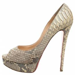 Christian Louboutin Grey/Beige Python Leather Altadama Peep Toe Platform Pumps Size 41 339672