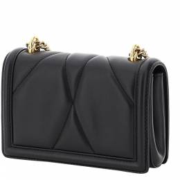 Dolce and Gabbana Black Leather Devotion Mini Shoulder Bag 338002