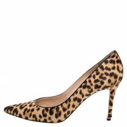 Gianvito Rossi Beige Leopard Print Calfhair Pointed Toe Pumps Size 40 339993
