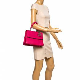 Dior Fuchsia Leather Small Be Dior Flap Top Handle Bag 339053