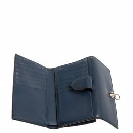 Fendi Blue Leather By The Way Compact Wallet 339838