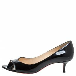 Christian Louboutin Black Patent Leather Shelley Criss Cross Peep Toe Pumps Size 38.5 340097