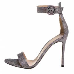 Gianvito Rossi Multicolor Glitter Fabric Portofino Ankle Cuff Sandals Size 39.5 339760