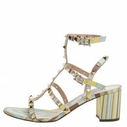 Valentino Multicolor Leather Rockstud Ankle Strap Sandals Size 40 338687