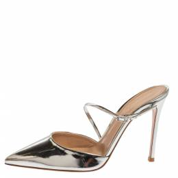 Gianvito Rossi Silver Leather Manhattan Pointed Toe Ankle Strap Sandals Size 39.5 339160