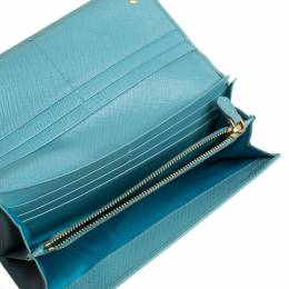 Prada Light Blue Saffiano Leather Continental Flap Wallet 339901