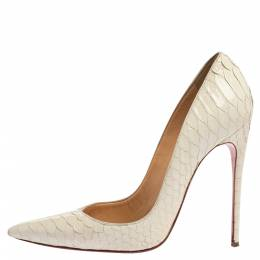 Christian Louboutin White Python So Kate Pumps Size 38 339002