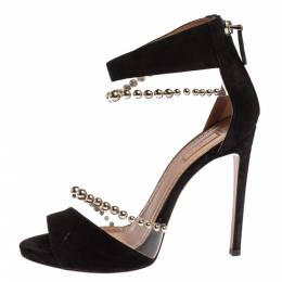 Alaia Black Suede And Pvc Bead Embellished Ankle Strap Sandals Size 37 339752