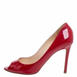 Christian Louboutin Red Patent Leather Flo Peep Toe Pumps Size 39 340056